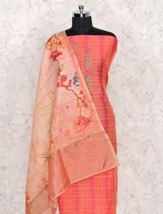 Orange cotton dress material for festival