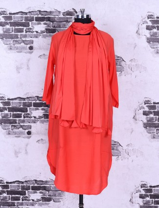 Orange cotton fabric casual top