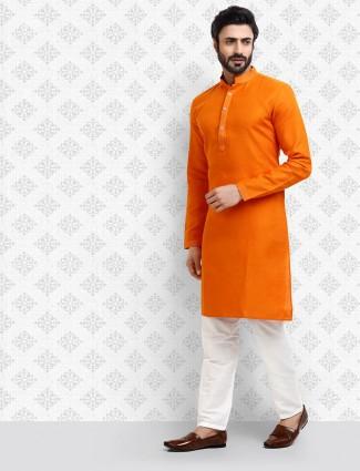 Orange cotton fabric mens stand collar kurta suit