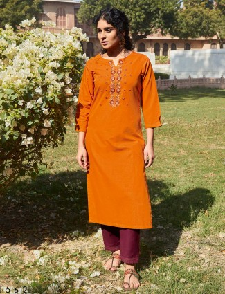 Orange cotton festive wear pant salwar suit