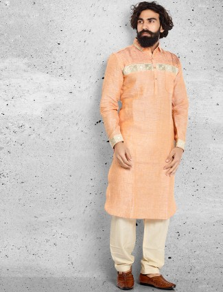 Orange cotton pathani suit