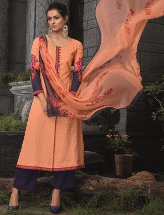 Orange cotton printed casual salwar suit