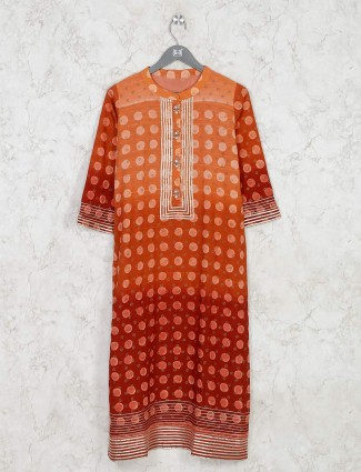 Orange cotton printed kurti with ombre effect