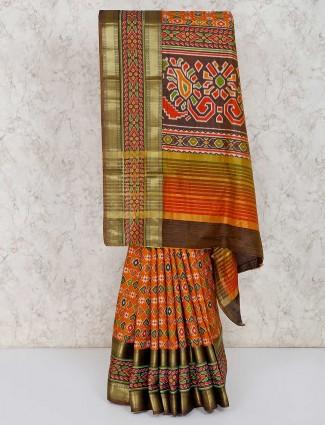 Orange cotton silk patola printed sari