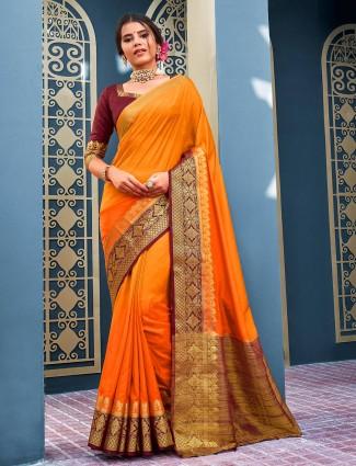 Orange cotton silk saree for festivals wear