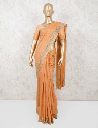 Orange cotton silk saree with stone work