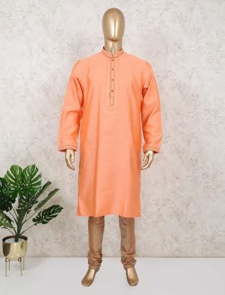 Orange cotton silk stand collar kurta suit