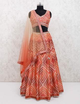 Orange cotton silk wedding function lehenga choli