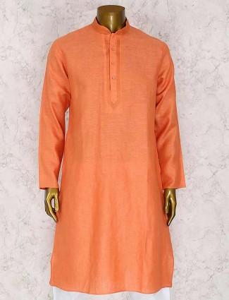 Orange cotton wedding kurta suit