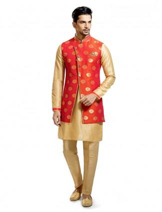 Orange cream silk waistcoat set