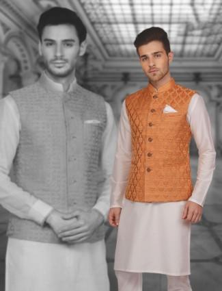 Orange cream wedding wear waistcoat set