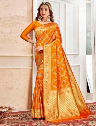 Orange designer banarasi silk saree for wedding