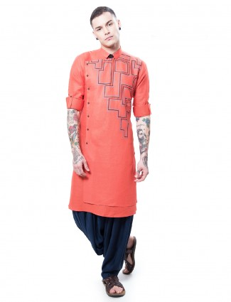 Orange designer cotton silk kurta suit