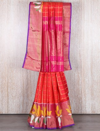Orange designer hydrabad silk saree