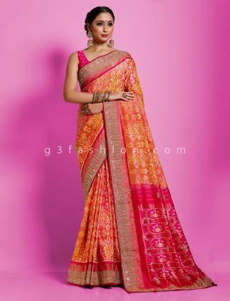 Orange designer hydrabadi patola silk classic saree