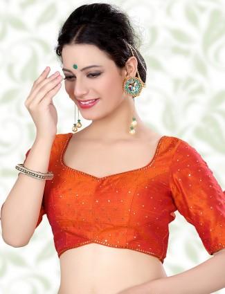 Orange designer raw silk ready made blouse