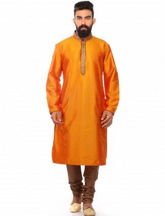 Orange dupion silk solid wedding wear Mens Kurta Suit