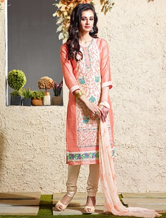 Orange festive chanderi silk salwar suit
