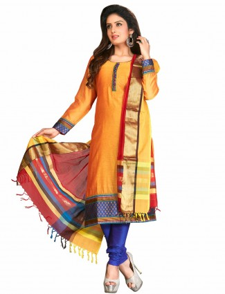 Orange festive wear cotton silk ready made salwar suit