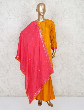 Orange half buttoned palazzo suit in cotton silk