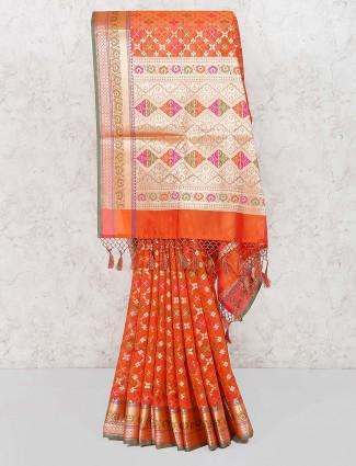 Orange hue banarasi semi silk pretty saree
