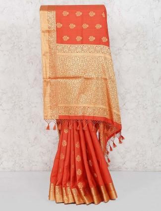 Orange hue banarasi semi silk wedding saree