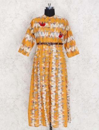 Orange hue casual wear cotton kurti