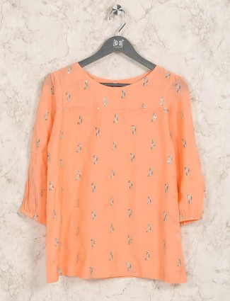 Orange hue cotton casual top