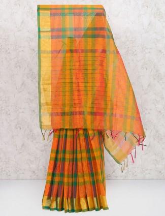 Orange hue festive wear cotton silk fabric saree