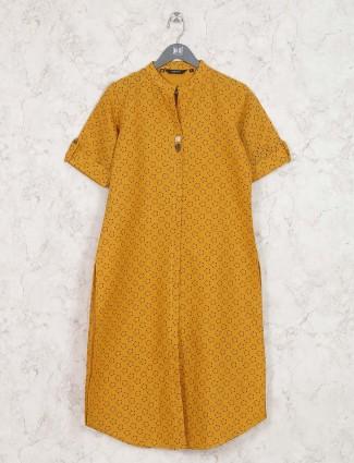 Orange hue kurti in cotton fabric