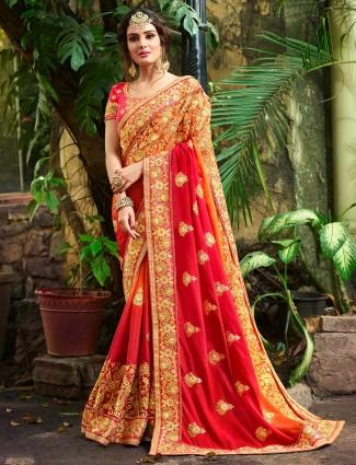 Orange hue marble chiffon half and half saree
