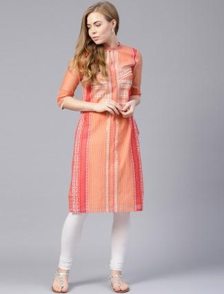 W orange hue printed cotton fabric kurti