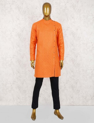Orange hue printed pattern slim fit kurta suit