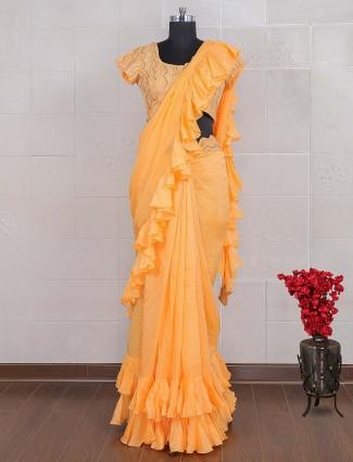 Orange hue saree in georgette fabric