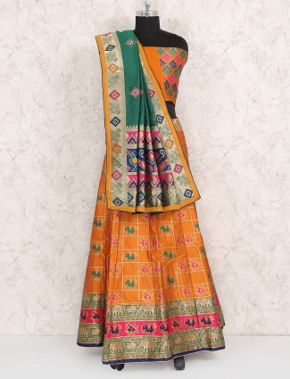 Orange hue semi stitched cotton silk lehenga choli