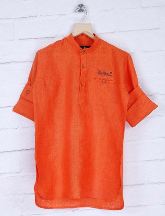 Orange hue solid cotton short pathani