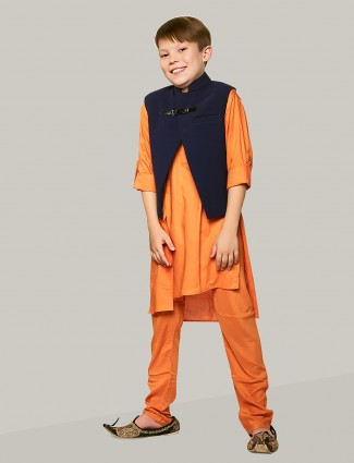 Orange hue waistcoat set in silk fabric