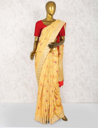 Orange hue wonderful saree in muga silk
