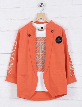 Orange hued solid cotton blazer