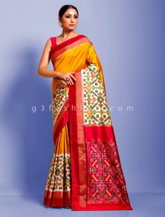 Orange hydrabadi ikkat half n half wedding patola saree