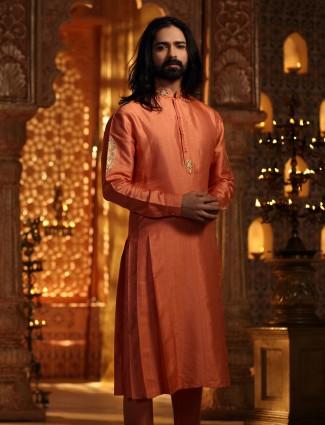 Orange kurta suit in silk