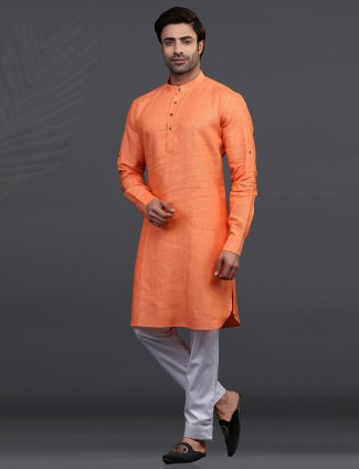 orange linen festive wear kurta suit