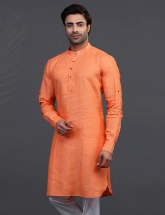 orange linen festive wear only kurta
