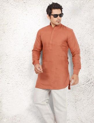 Orange linen plain pathani suit