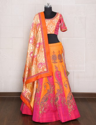 Orange magenta bridal wear designer lehenga choli