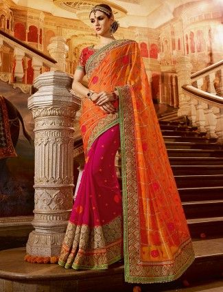 Orange magenta dressy georgette half and half saree