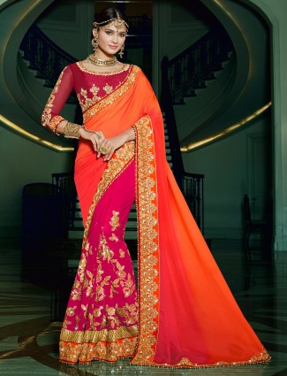 Orange magneta georgette satin half and half saree