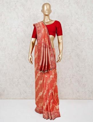 Orange muga silk saree for festive wear