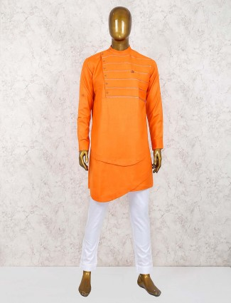 Orange party function cotton mens kurta suit