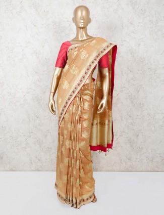 Orange georgette saree with zari thread weaving